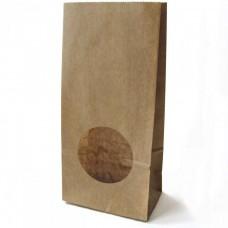 Крафт-пакет бумажный с круглым окошком 100*60*200 мм