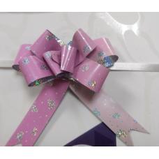 Бант-затяжка Розовый перламутр Сердечки 4-5 см