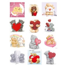 Картинки на водорастворимой бумаге А4  Мишки тедди