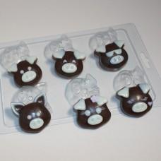 Пластиковая форма для шоколада и мыла Хрюшки-мордашки мини