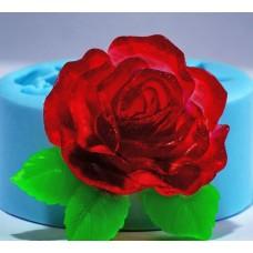 """Силиконовая форма """"Роза с листочками"""" 2Д"""