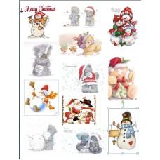 Картинки на водорастворимой бумаге А4  Новогодние мишки Тедди