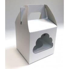 Коробка белая с окошком 10 х 10 х 10 см