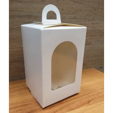 Коробка-фонарик белая глянцевая с окошком 8х12 см