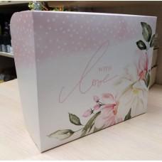 Коробка картонная с принтом Цветы с любовью 20х17 см