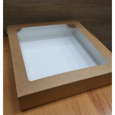Коробка Крафт картонная с окошком 20х20х4,5 см