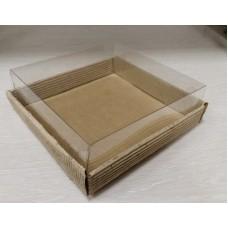 Коробка квадратная из гофрокартона с прозрачным верхом 18х18 см