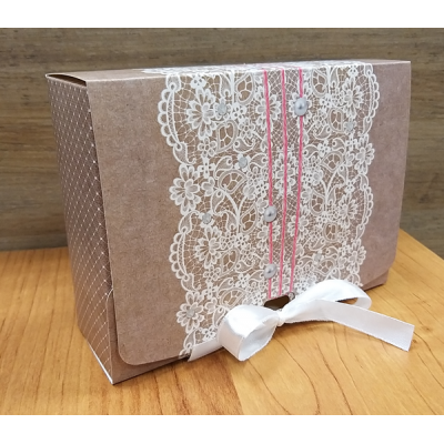 Коробка подарочная с ленточкой 16,5х11,5 см (серая)
