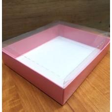 Коробка  розовая с прозрачной крышкой 13х16 см