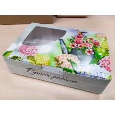 Коробочка с окошком Ручная работа Цветы в лейке 14х9 см