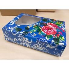 Коробочка с окошком Ручная работа Синяя 14х9 см