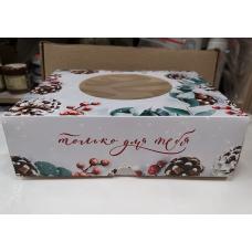Коробка картонная с принтом Шишки 20х17 см