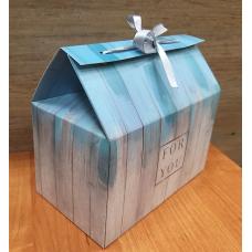 Коробка-сундучок с принтом Голубая 10х17х15 см