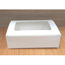 Коробочка Белый глянец с окошком 14х9,5х4 см