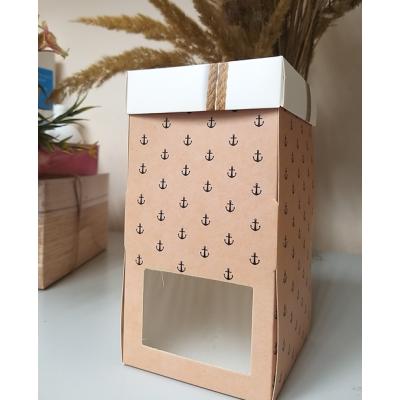 Коробка с окошком бежевая Якоря 9х9х17 см