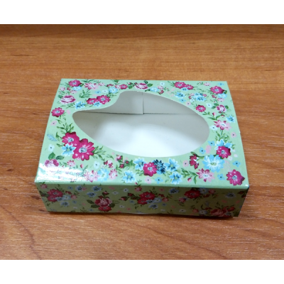 Коробочка Салатовая с цветами 9 х 6,5 см