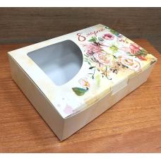 Коробочка складная 8 Марта букет 15,5х11 см