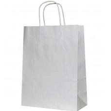 Крафт пакет Белый с кручеными ручками 24 х 27 см