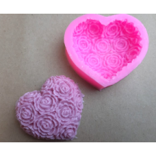 """Молд силиконовый 7,5×6,5 см """"Сердце - Розы"""""""