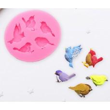 """Молд силиконовый 6×5,5 см """"Пять птиц"""""""