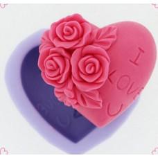 Молд силиконовый Роза в сердце
