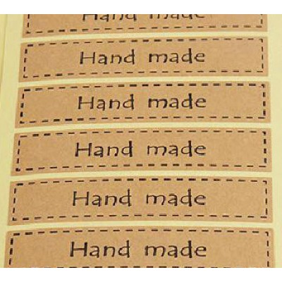 Наклейки Hand made, 16 наклеек прямоугольных 1,5х7