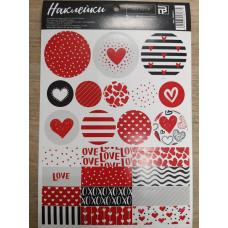 Лист с наклейками 14х21 см Love Красные