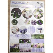 Лист с наклейками 14х21 см Сиреневые цветы