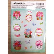 Лист с наклейками 14х11 см Цветы - Бабочки