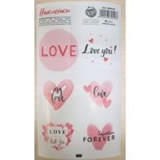 Наклейка круглая LOVE (6 штук на листе)