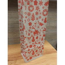 Пакет крафт Новогодний с печатью красный 10х26 см