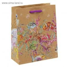 """Пакет подарочный """"Морской мир"""" 12х15 см"""