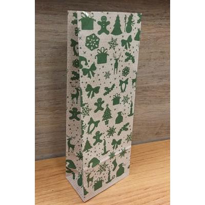 Пакет крафт с объемным дном Новый Год зеленый 8х22 см