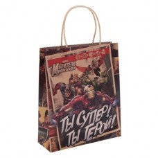 Пакет подарочный крафт Супергерои
