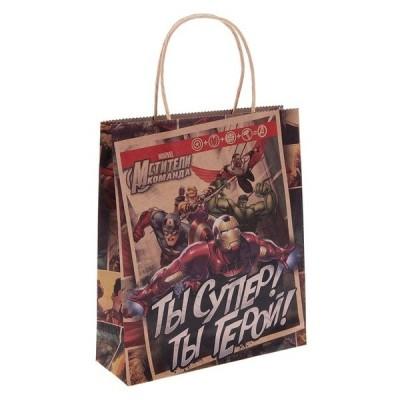 Пакет подарочный крафт Супергерои (Сима-Ленд)