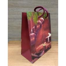 Пакет новогодний подарочный 12х15 см