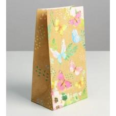 Пакет подарочный бумажный «Райские бабочки» 10х19 см