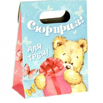 """Пакет подарочный с клапаном """"Мишка с подарком"""" 26х32 см (Сима-Ленд)"""