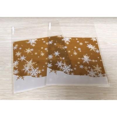 Пакет с липким краем Снежинки золотые