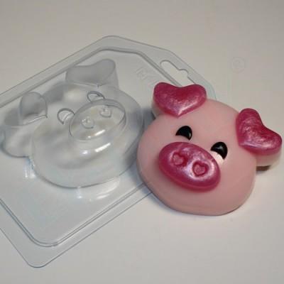 Пластиковая форма Хрюшка-мордашка - Уши сердечком