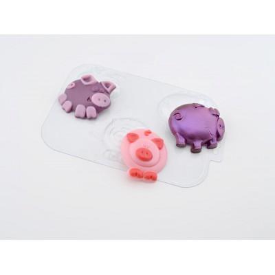 Пластиковая форма для шоколада Поросячье Трио