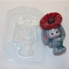 Пластиковая форма Зайка-малыш с цветком