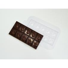 Пластиковая форма для шоколада Плитка Какао Бобы