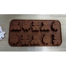 Силиконовая форма для шоколада 15 ячеек Звери
