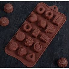 Силиконовая форма для льда и шоколада «Лакомство», 21×10,4 см, 15 ячеек