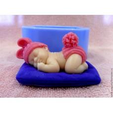 """Силиконовая  форма """"Малыш на подушке"""""""