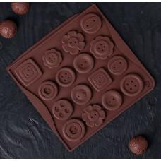 Силиконовая форма для льда и шоколада «Пуговки», 17,4×16,5×0,4 см, 16 ячеек