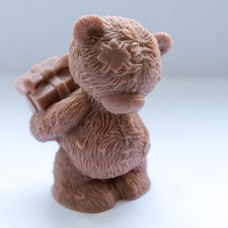 """Силиконовая форма """"Тедди с подарком 3D"""""""