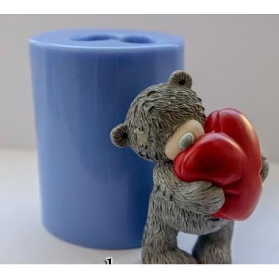 """Силиконовая форма """"Тедди с сердцем"""" 3D"""